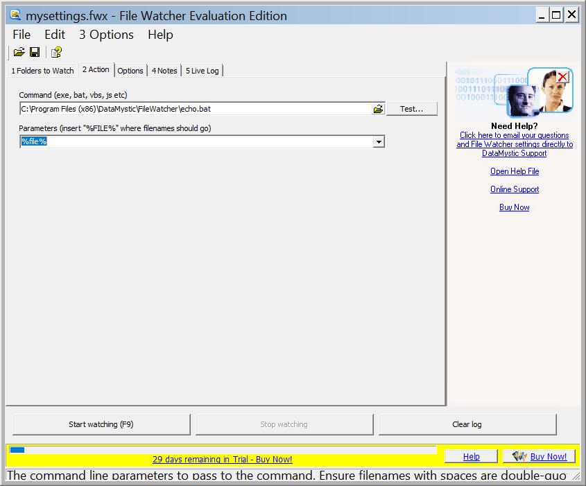 FileWatcher messages window