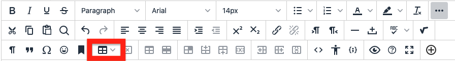 click the Table button to create a new table