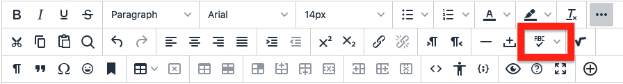 click the toggle spell checker icon to turn spell checker on or off
