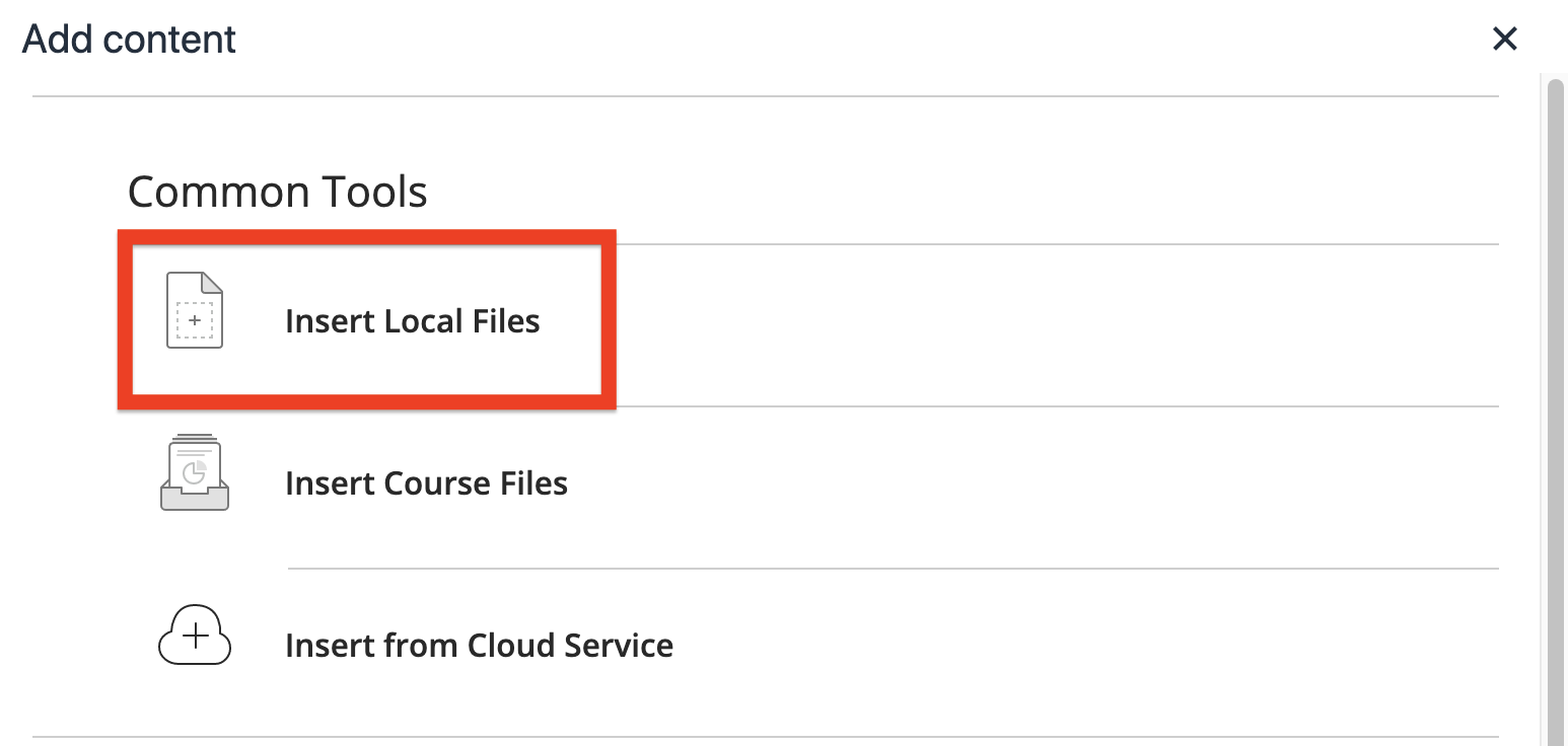 in the common tools area, select insert local files to upload a file from your computer