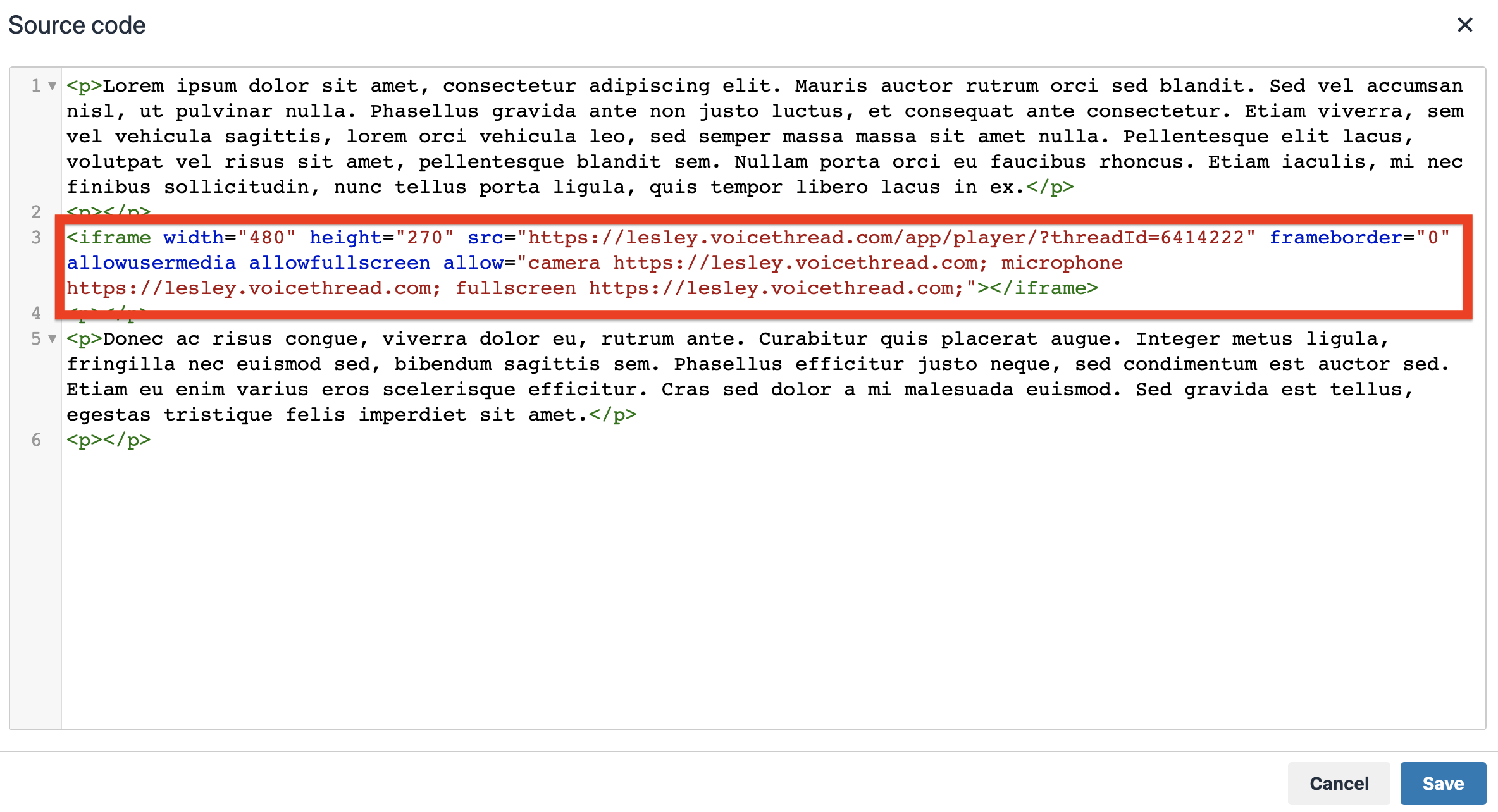 paste your html code, such as an iframe