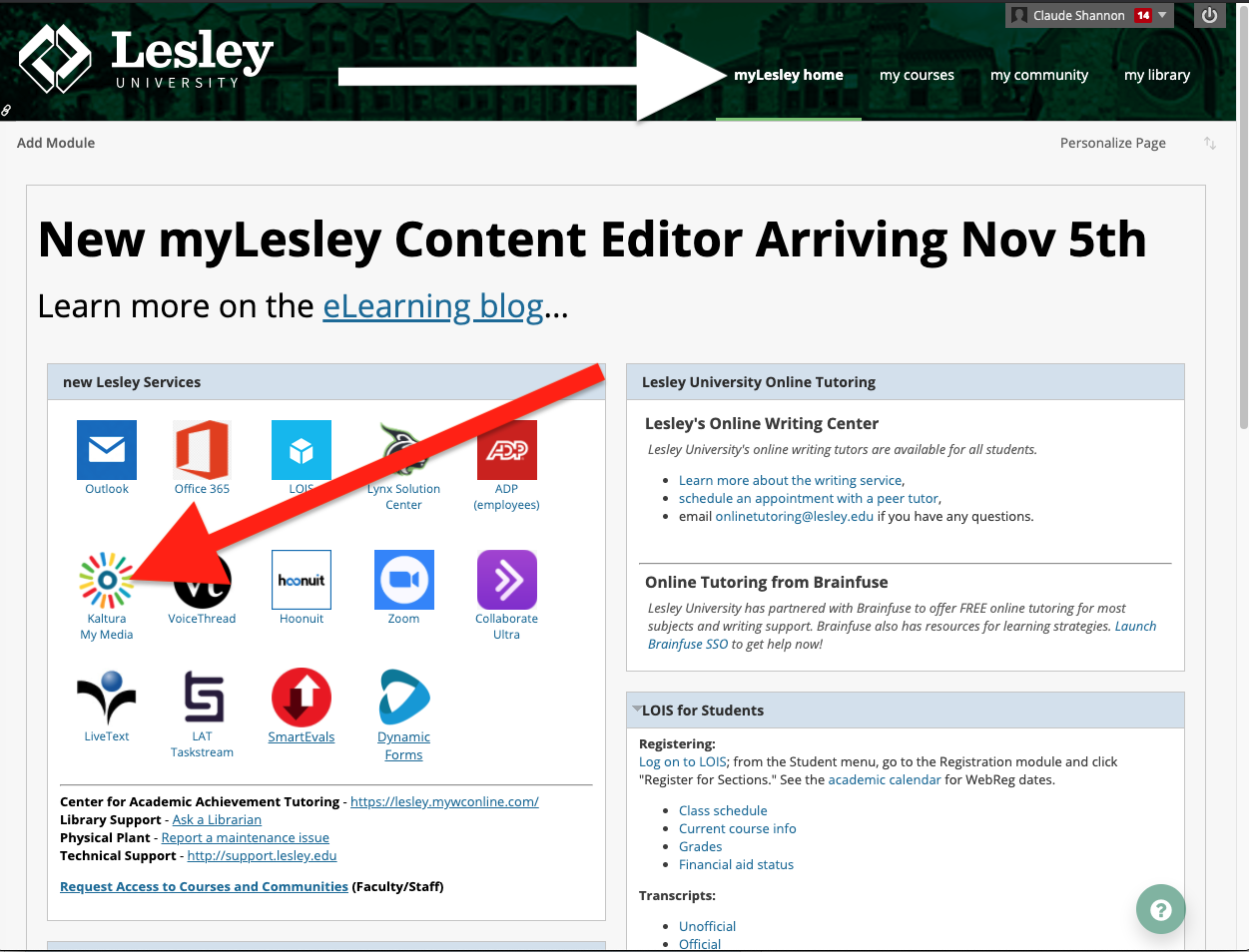 to access your kaltura my media, click on the kaltura my media icon in the new lesley services module