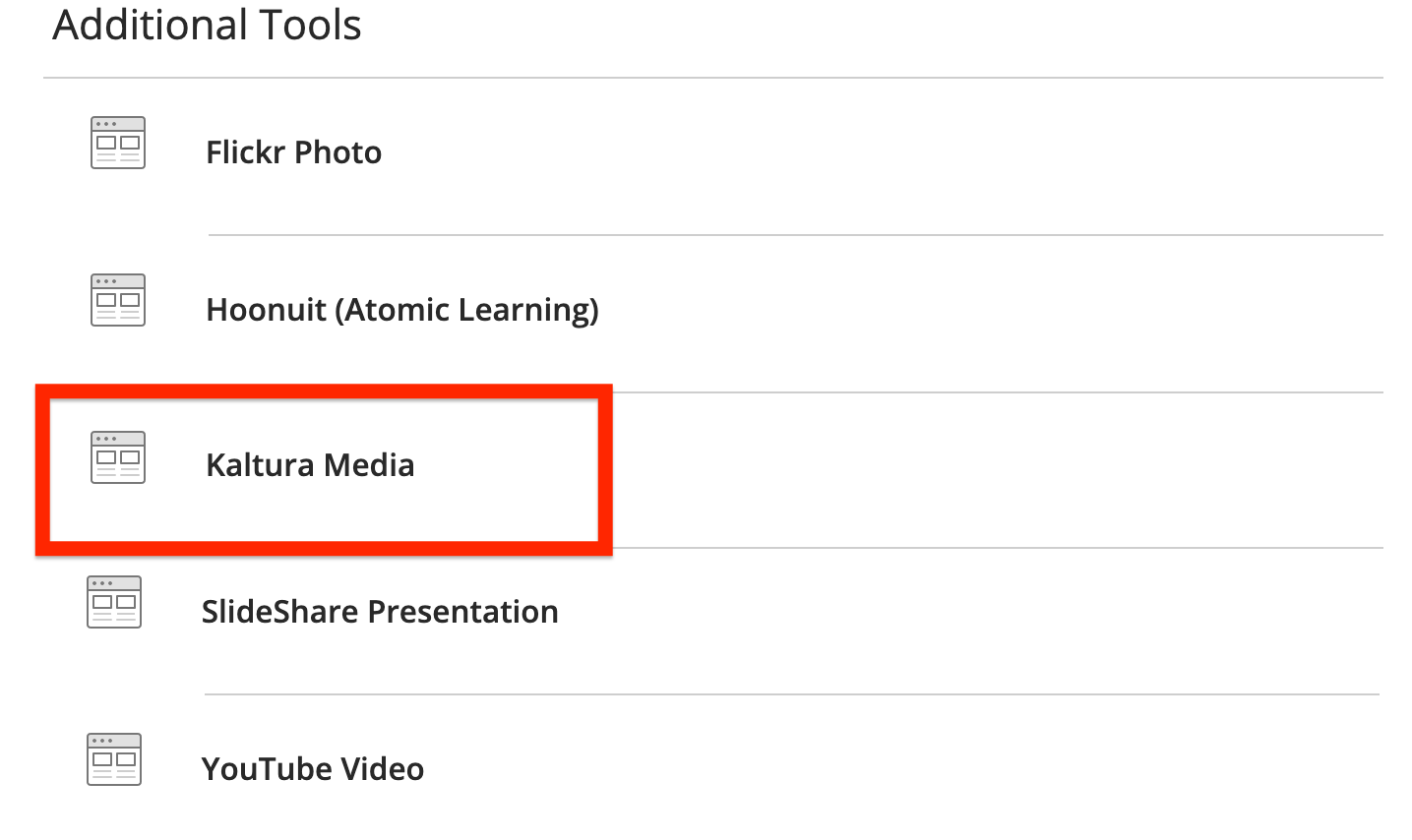 in the additional tools section, select kaltura media