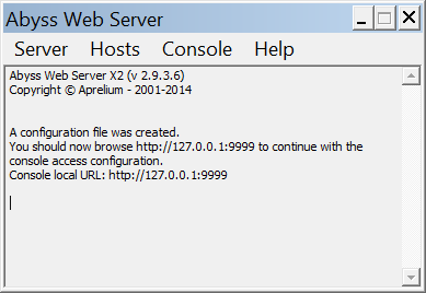 Abyss Web Server messages window