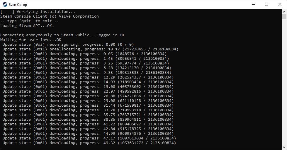 Downloading the Sven Co-op Dedicated Server