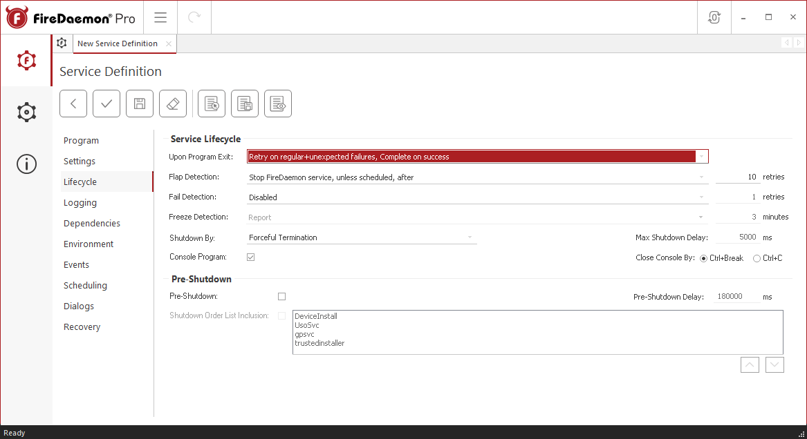 FireDaemon Pro Strawberry Perl lifecycle settings