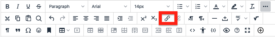 click insert/edit link button in content editor