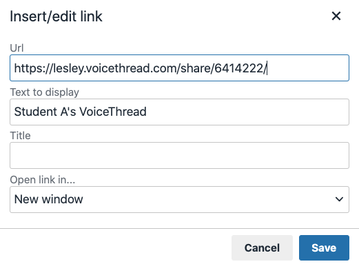 enter your URL, the text to display as the clickable hyperlink, and set the link to open in a new window