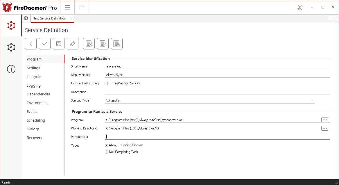 FireDaemon Pro Allway Sync Service Program Tab
