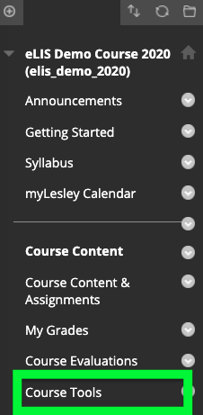 click on Course Tools in the course menu