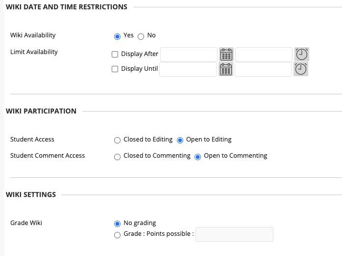 select your wiki availability, (optional) date and time restrictions, wiki participation, and grade settings