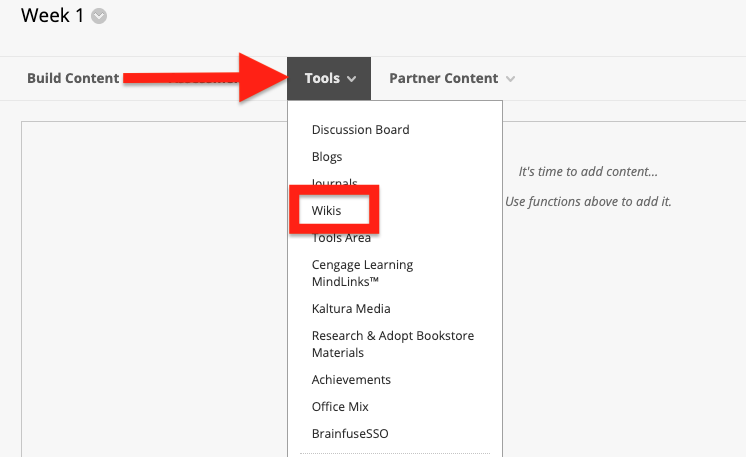 click on the tools menu and select wikis