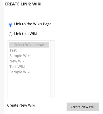 select whether you want to link to the wikis page, a specific wiki, or create a new wiki