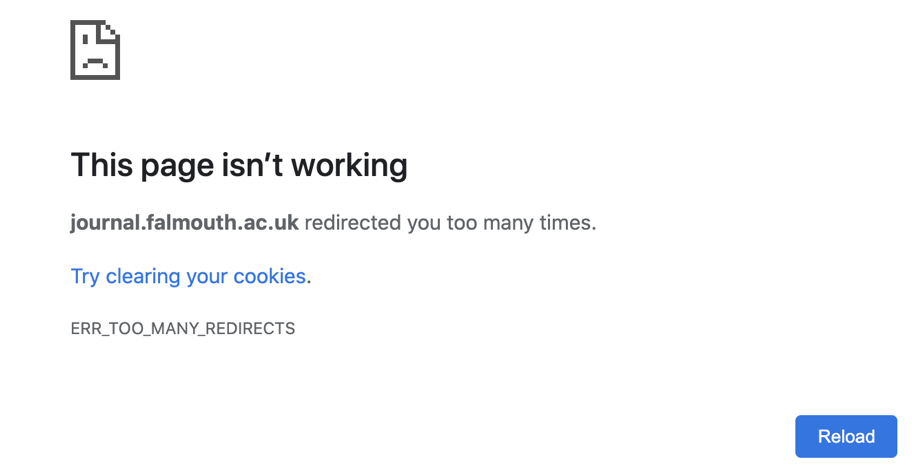 Error screen stating 'This page isn't working'