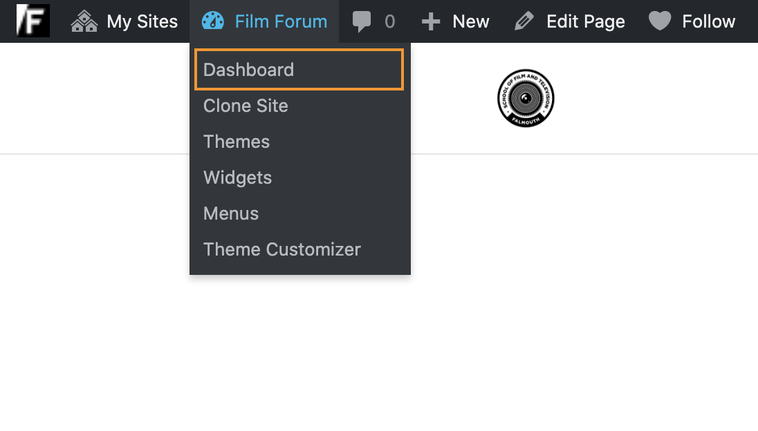 Zoomed in on the Journal top menu selecting Dashboard