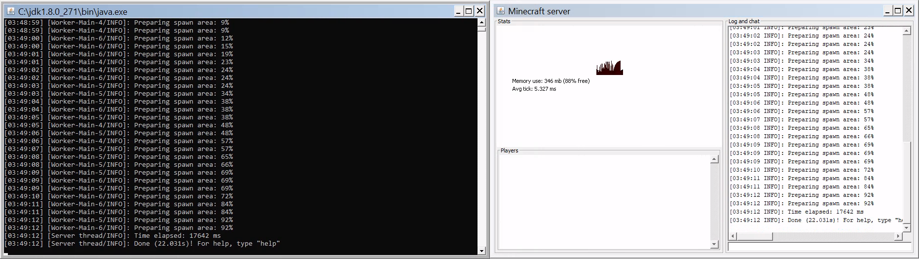 Minecraft dedicated server messages window
