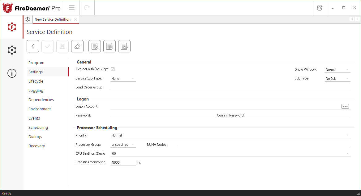 FireDaemon Pro Apache ZooKeeper service settings