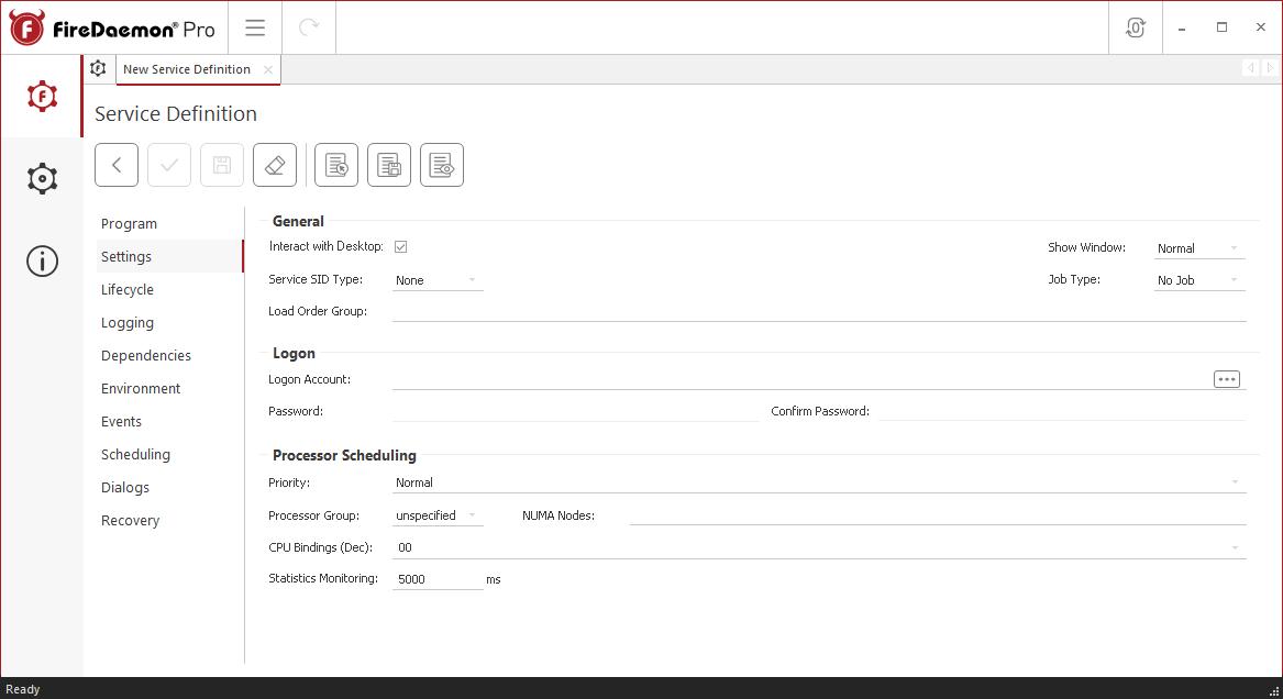 FireDaemon Pro aria2 service settings