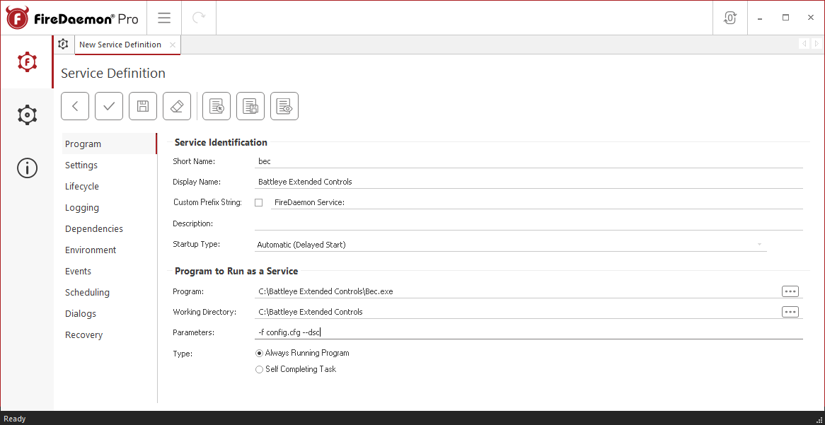 FireDaemon Pro Battleye Extended Controls Service Program Tab