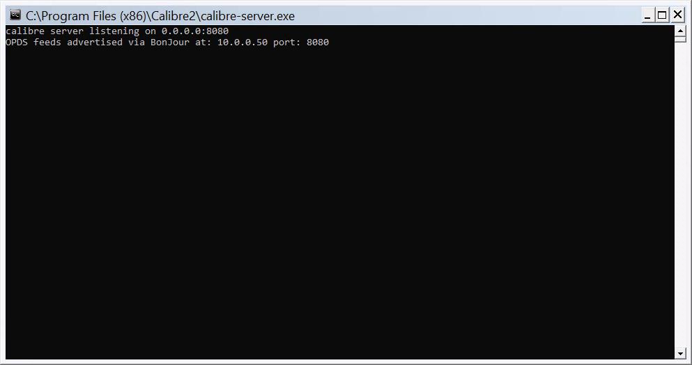 Calibre Server console