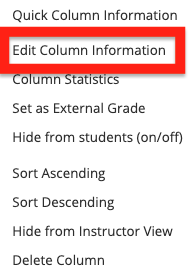 select edit column information