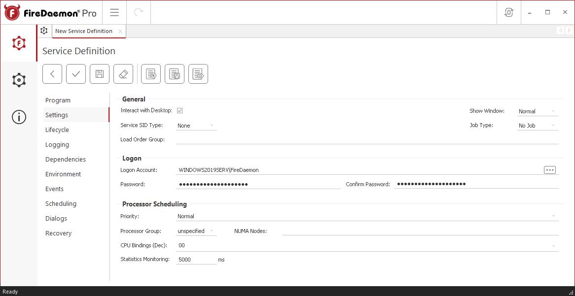 FireDaemon Pro Buzof service settings