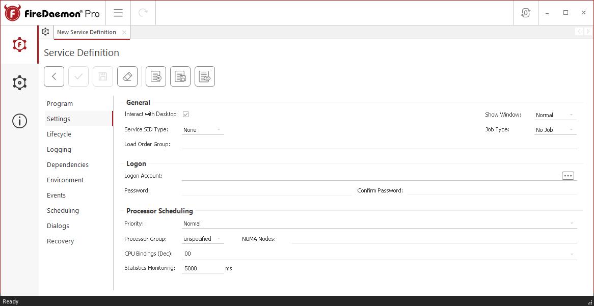 FireDaemon Pro CompanionLink Professional service settings
