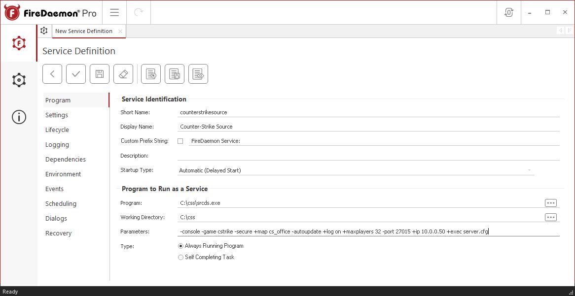 FireDaemon Pro Counter-Strike: Source Service Program Tab