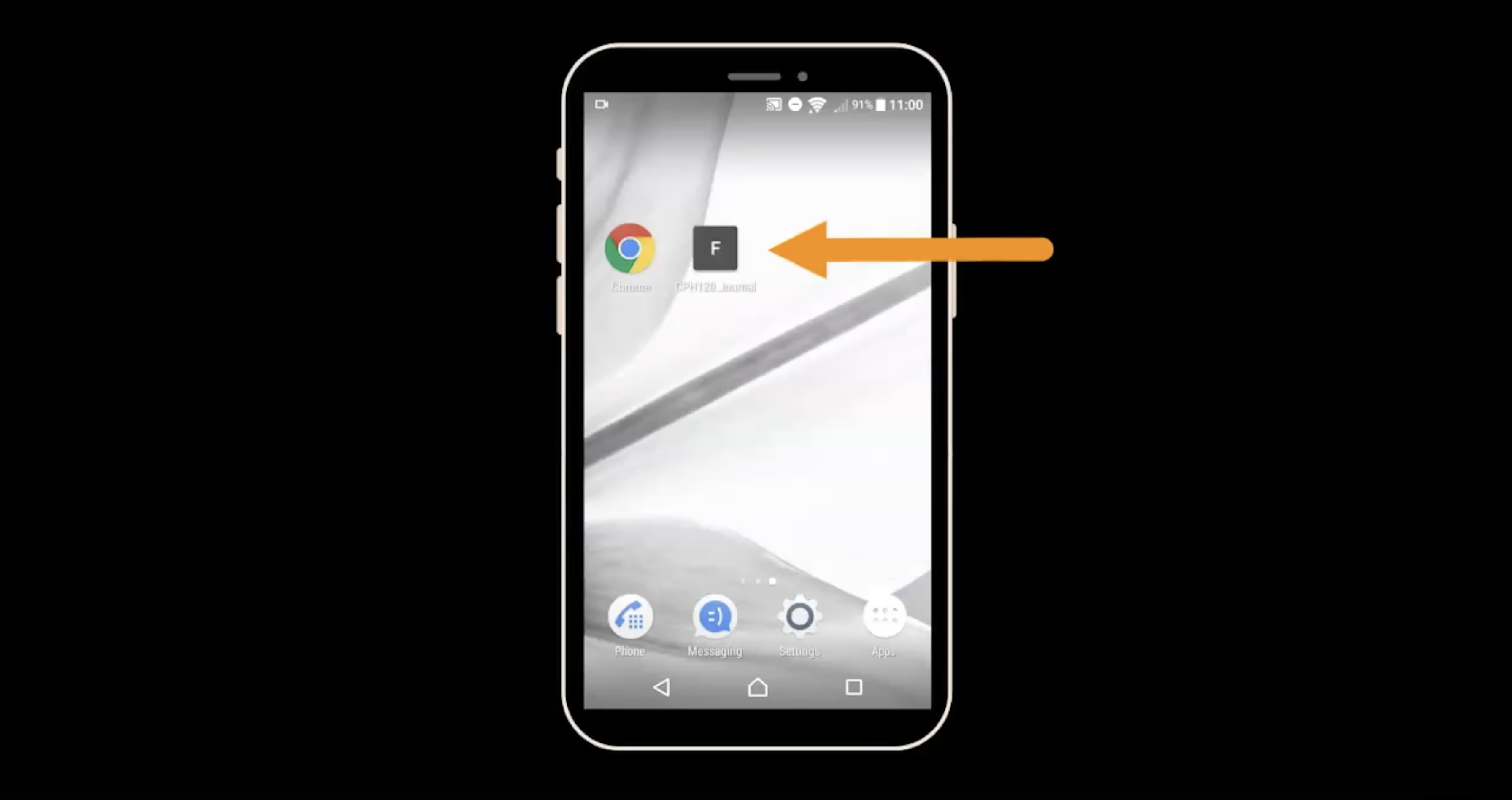An arrow points at a desktop item on a mobile phone