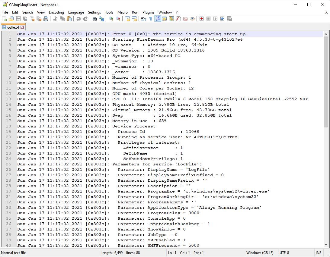 FireDaemon Debug Log File