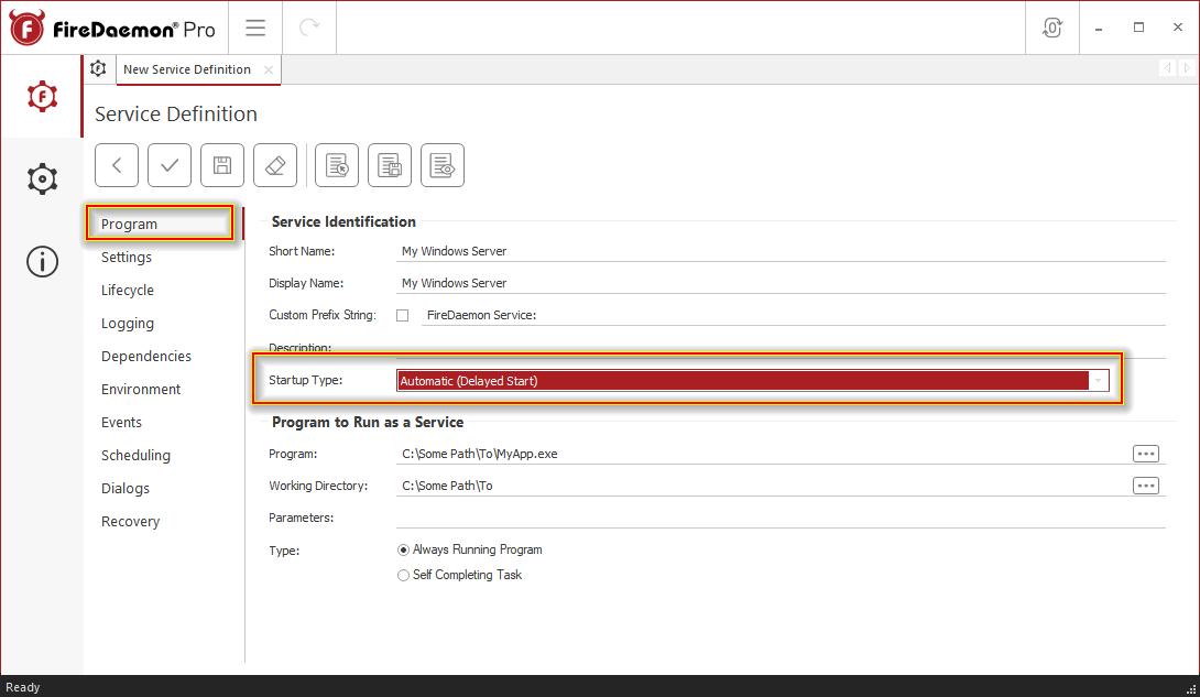 FireDaemon Pro Service Startup Type