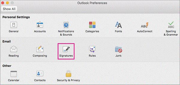 Signatures Preferences button