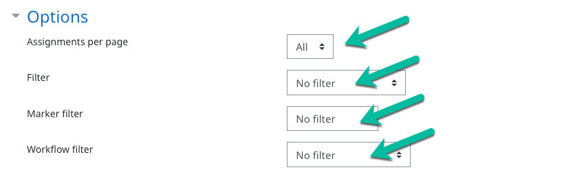 Screenshot showing options with assignments per page set to all and no filters applied