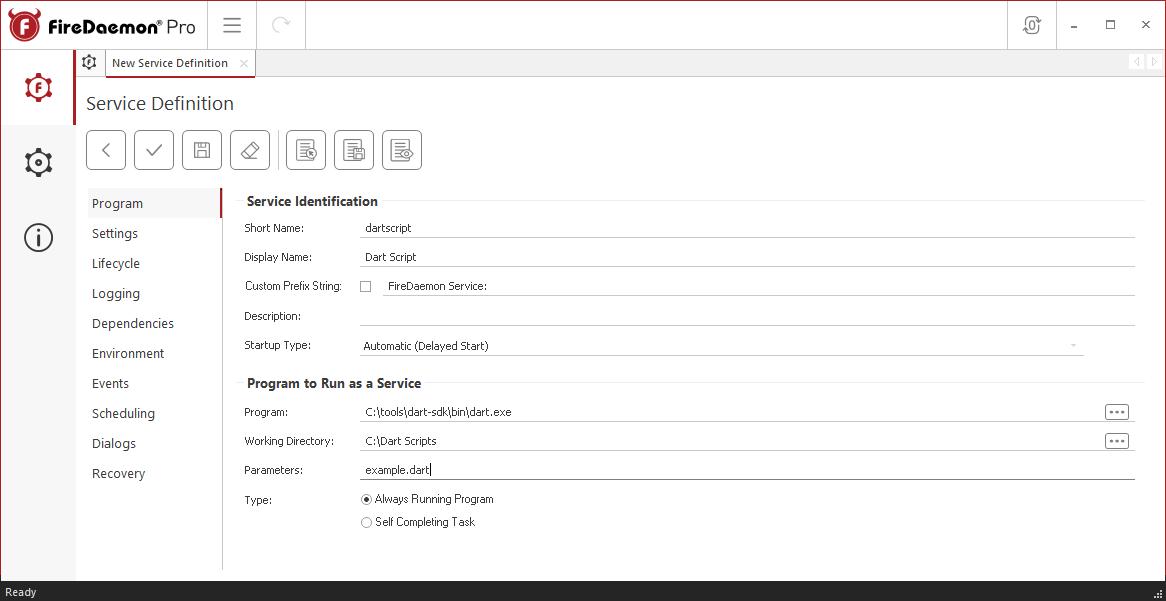 FireDaemon Pro Example Service Program Tab