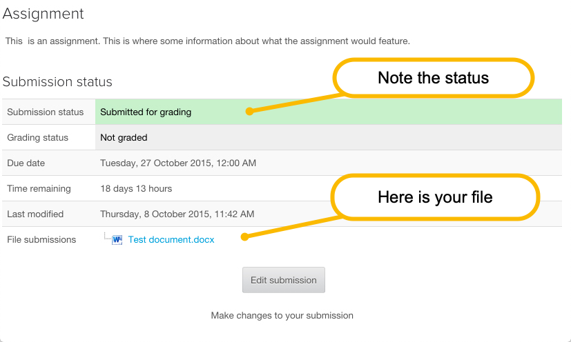 Assignment Submission Status dialogue box for making edits to submissions