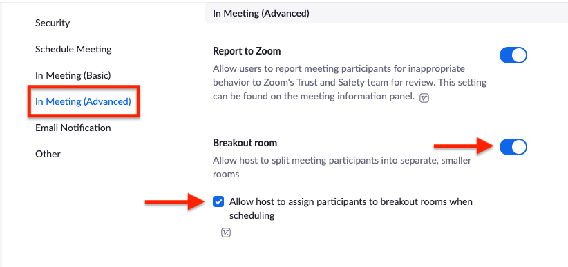 enable breakout rooms options