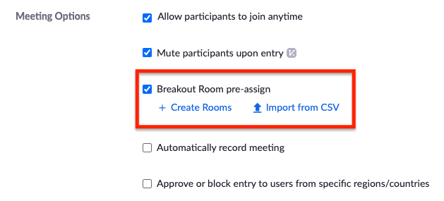 Breakout rooms pre-assign settings option
