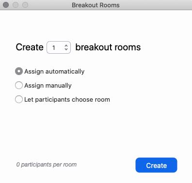 Create breakout rooms window