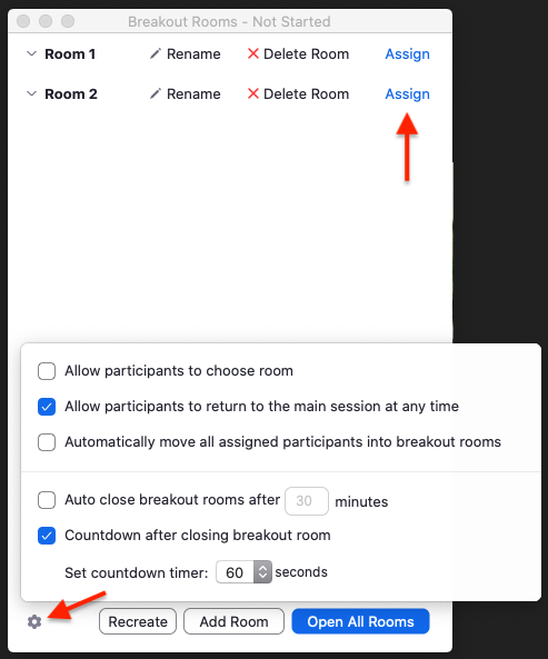 access options and assign participants to breakout rooms