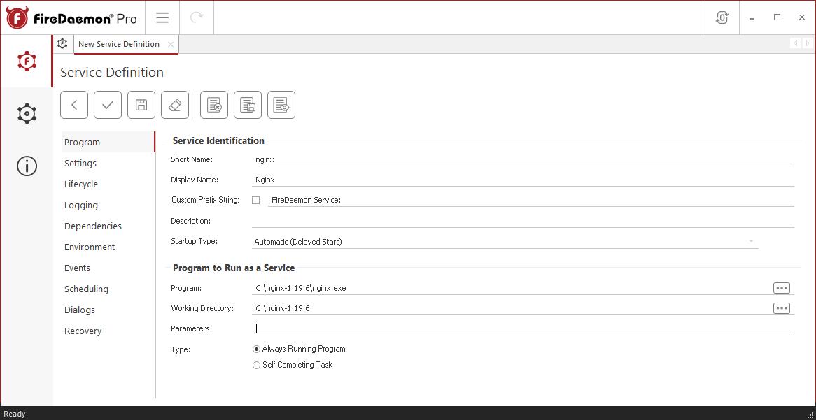 FireDaemon Pro Nginx Service Program Tab