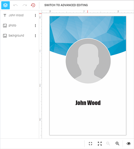 The IDML template loaded to the web-to-print designer.