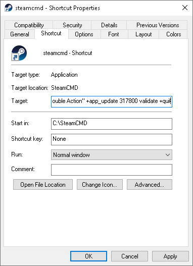 SteamCMD Shortcut Properties
