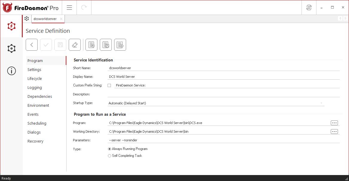 FireDaemon Pro DCS World Service Program Tab