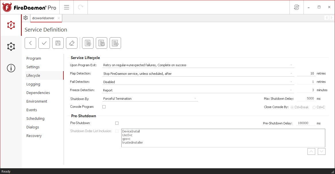 FireDaemon Pro DCS World lifecycle settings