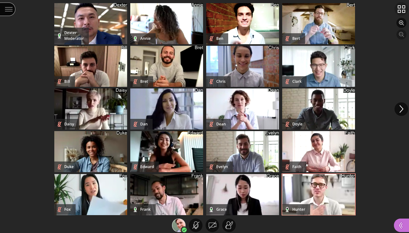 A mock up screenshot of Collaborate video gallery with cameras arranged in a 5 by 4 grid.