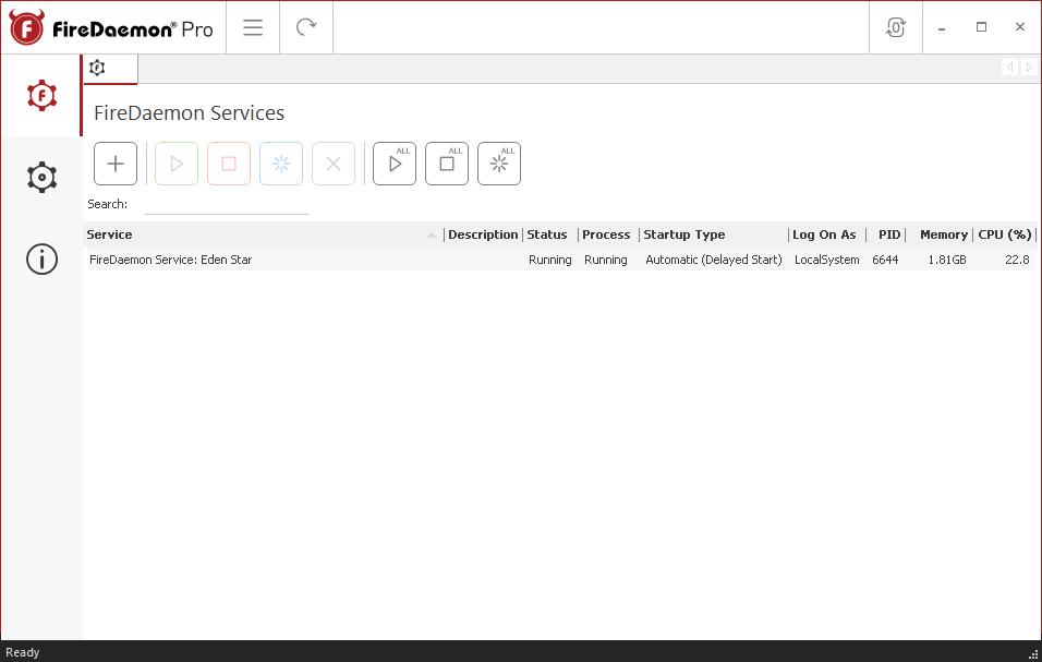 FireDaemon Pro Services list
