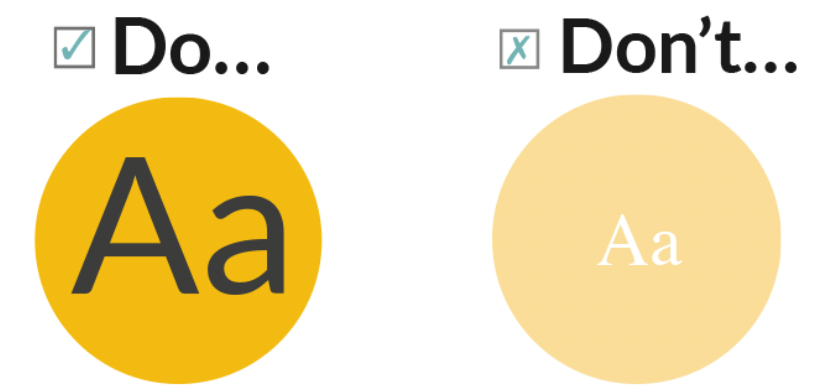 2 yellow circles, one with black text and the other with white to demonstrate differences in contrast