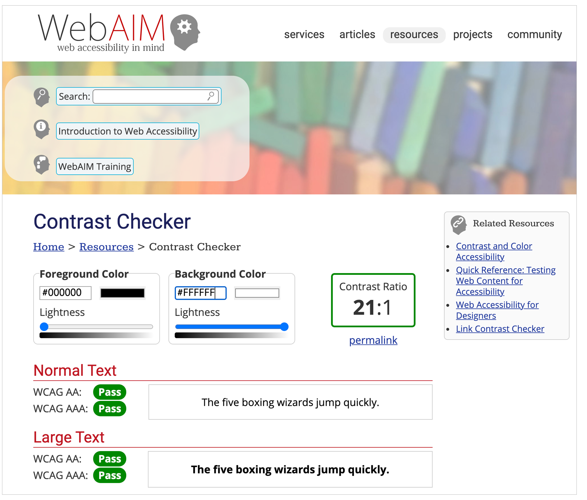 An example of a pass in WebAim Contrast Checker due to sufficient contrast ratio.