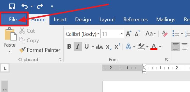 file tab in MS Word