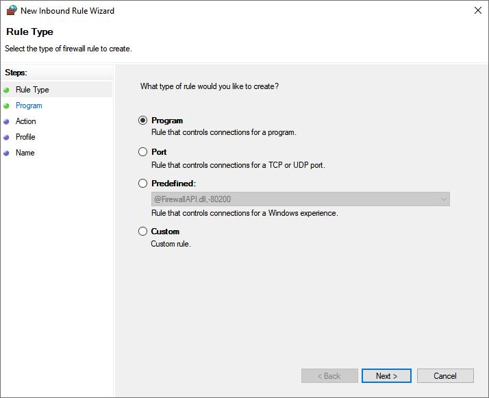 Windows Defender Firewall Inbound Rule Type